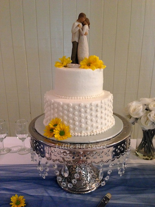 Simple, Sunflower Wedding Cake